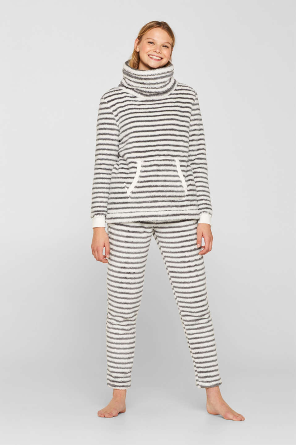 Plush trousers with stripes, OFF WHITE, detail image number 0