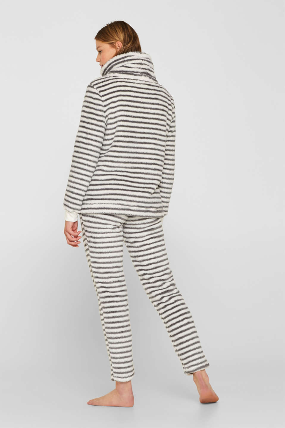 Plush trousers with stripes, OFF WHITE, detail image number 3