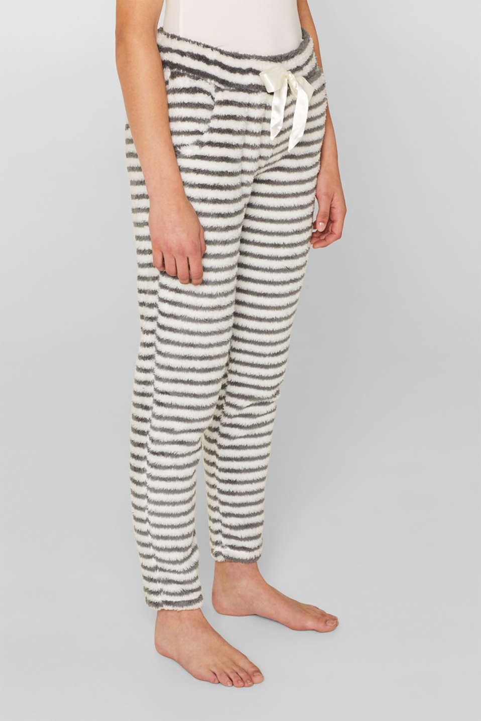 Plush trousers with stripes, OFF WHITE, detail image number 5