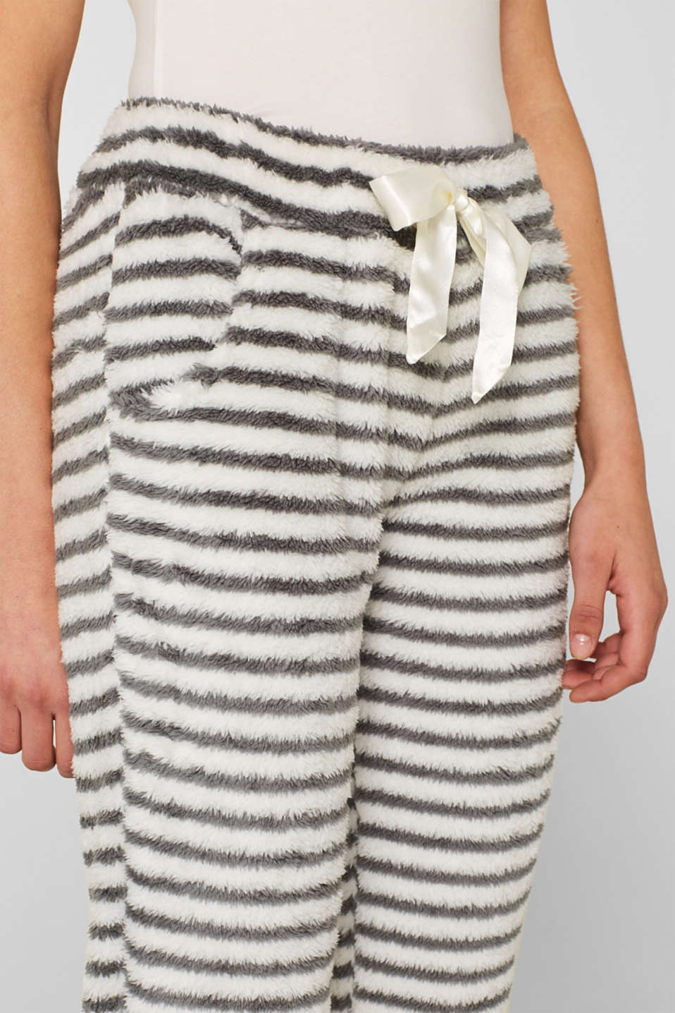 Plush trousers with stripes, OFF WHITE, detail image number 2