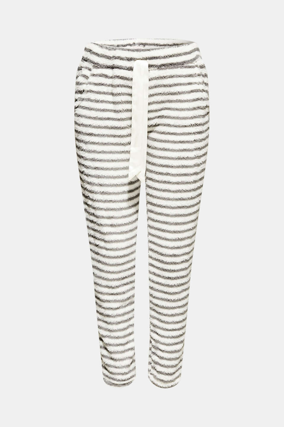 Plush trousers with stripes, OFF WHITE, detail image number 6
