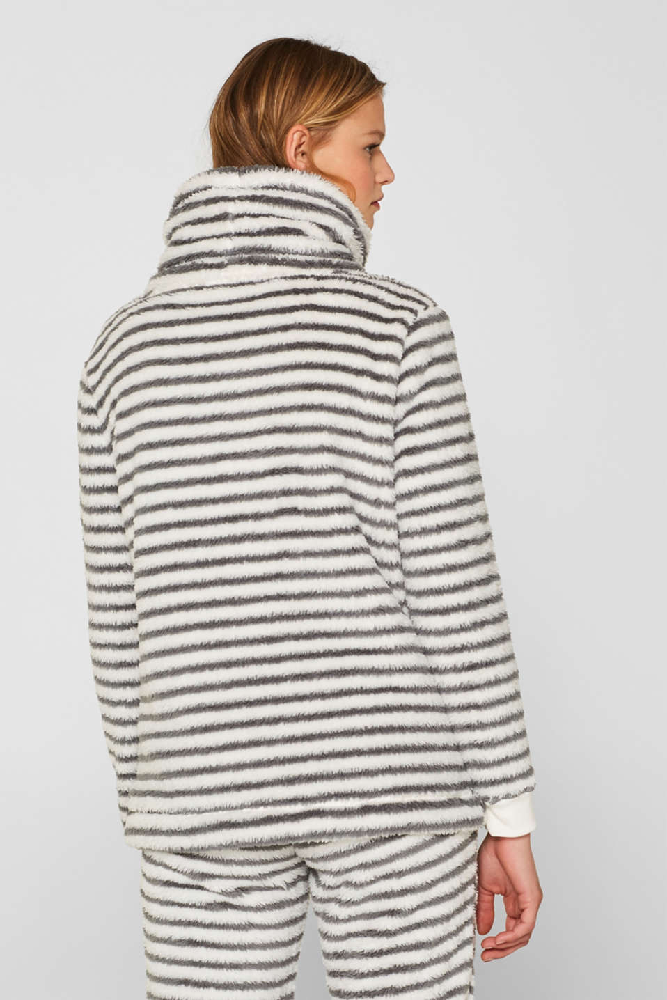 Plush jumper with a stand-up collar, OFF WHITE, detail image number 2