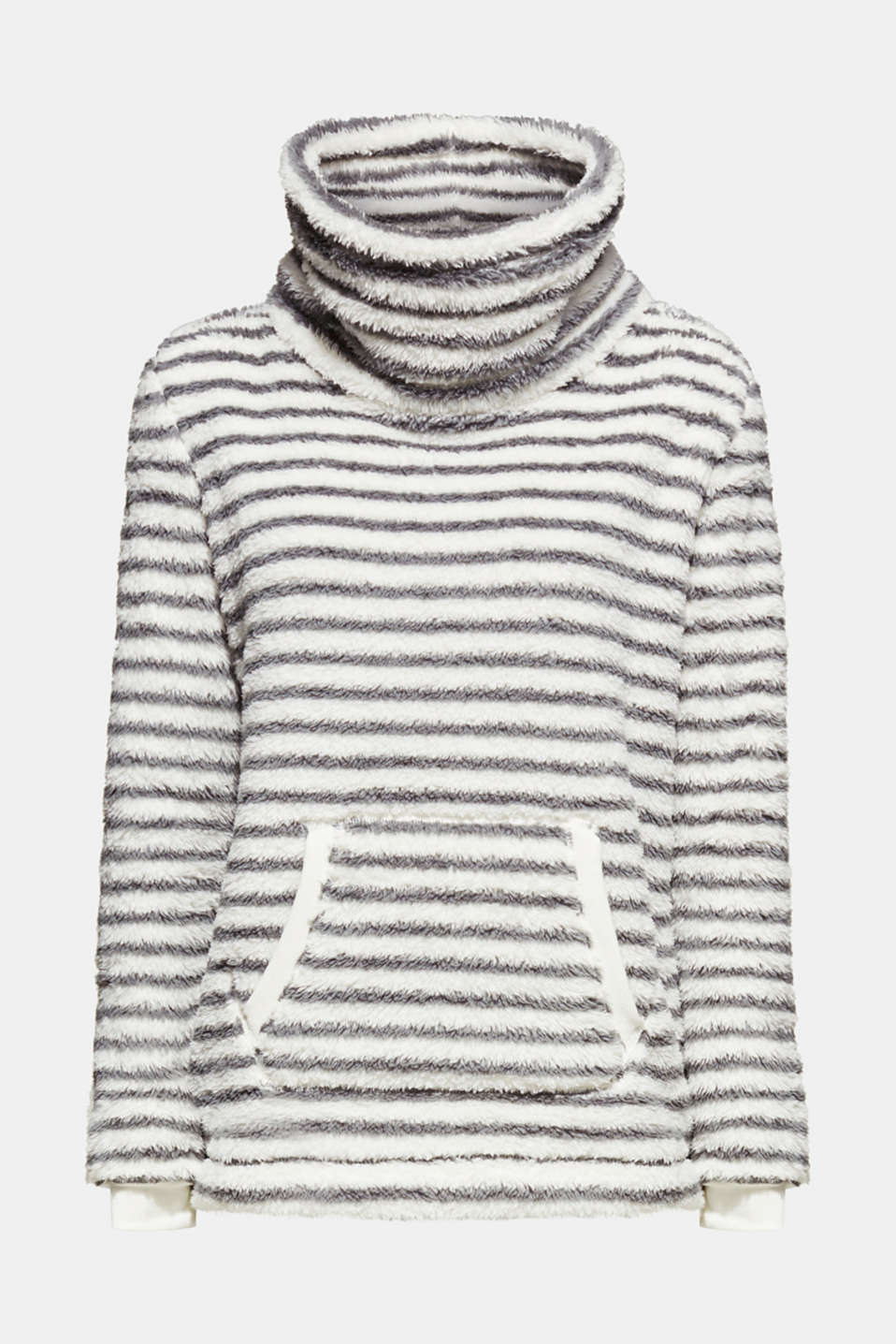 Plush jumper with a stand-up collar, OFF WHITE, detail image number 5