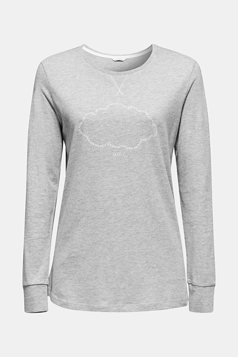 Melange long sleeve top with a print