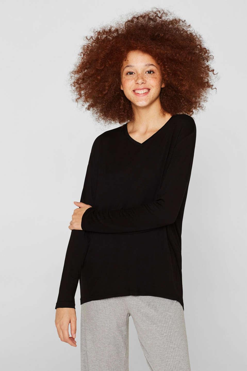 Stretch long sleeve top with a V-neckline, BLACK, detail image number 1