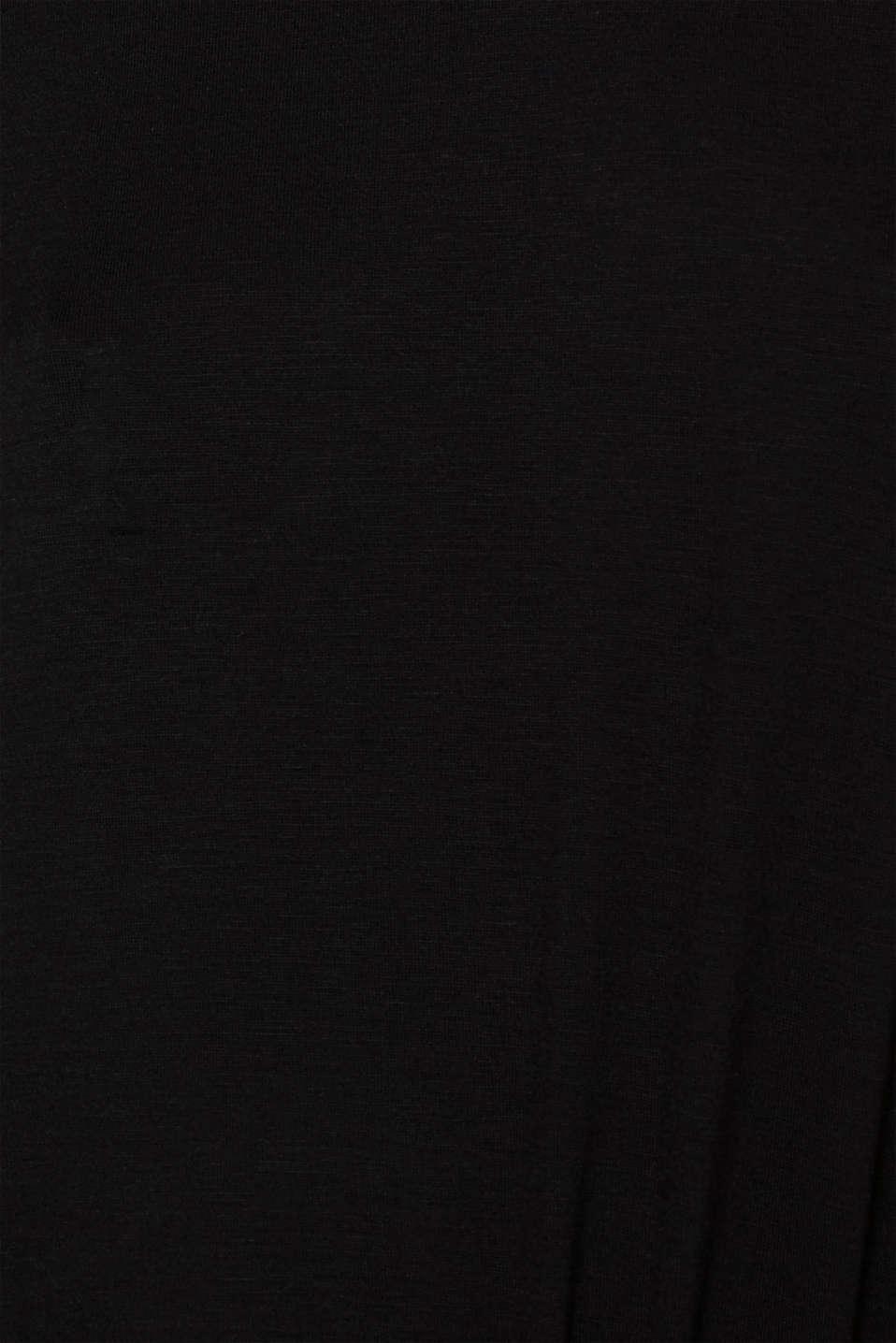 Stretch long sleeve top with a V-neckline, BLACK, detail image number 4