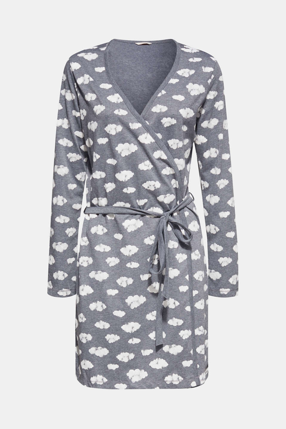 Jersey kimono with print, NAVY, detail image number 3