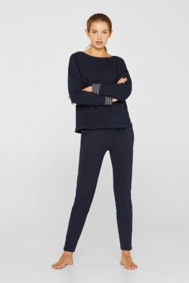 Double-faced sweatshirt with a rib texture, NAVY, detail