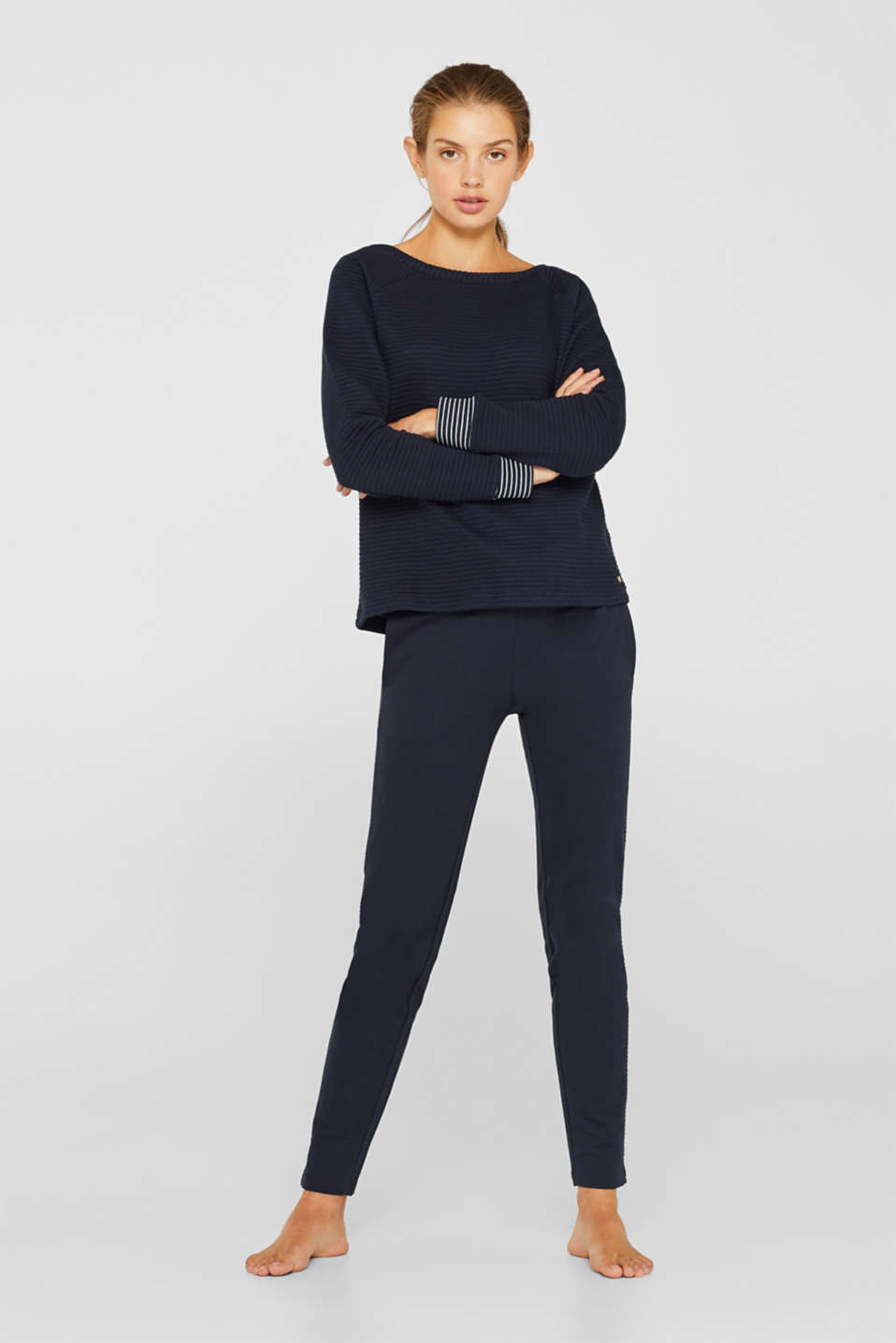 Esprit - Double face sweatshirt met ribstructuur