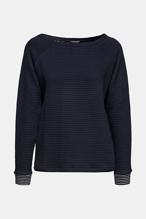 Double-faced sweatshirt with a rib texture