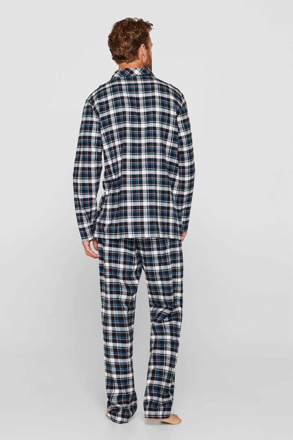 Flannel pyjamas, 100% cotton, BLACK, detail image number 1