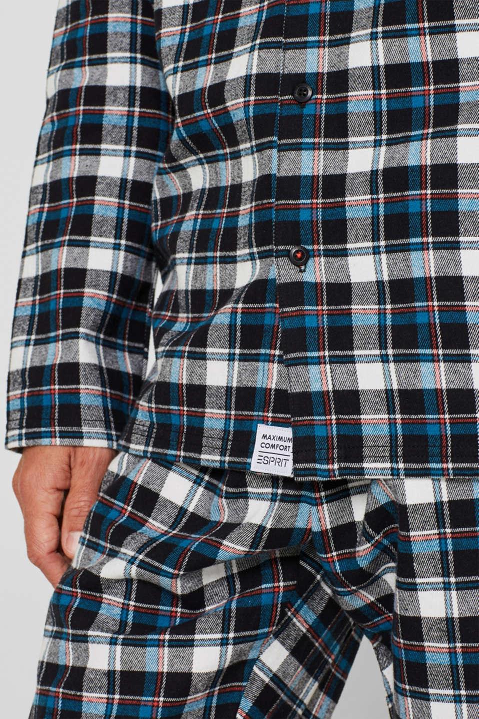 Flannel pyjamas, 100% cotton, BLACK, detail image number 2