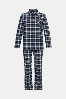 Flannel pyjamas, 100% cotton, BLACK, detail