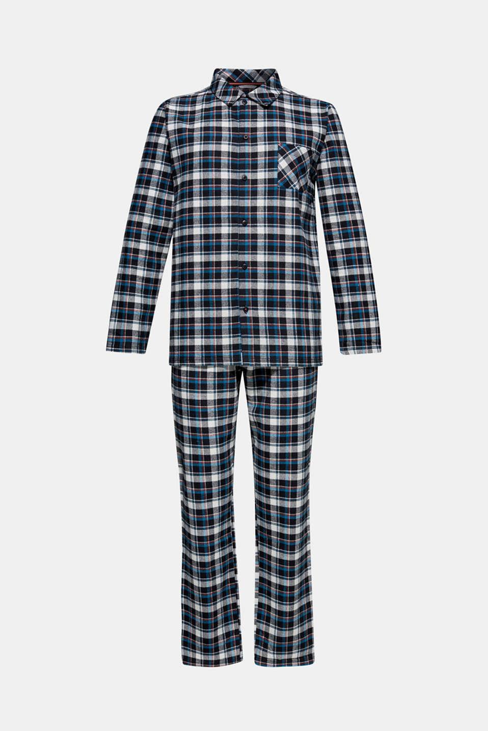 Flannel pyjamas, 100% cotton, BLACK, detail image number 4