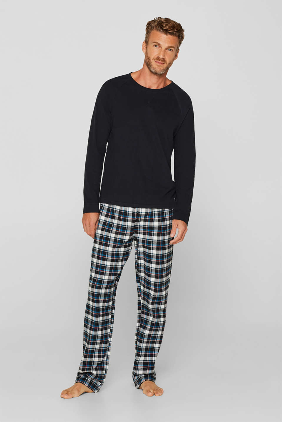 Jersey/flannel pyjamas, 100% cotton, BLACK, detail image number 0