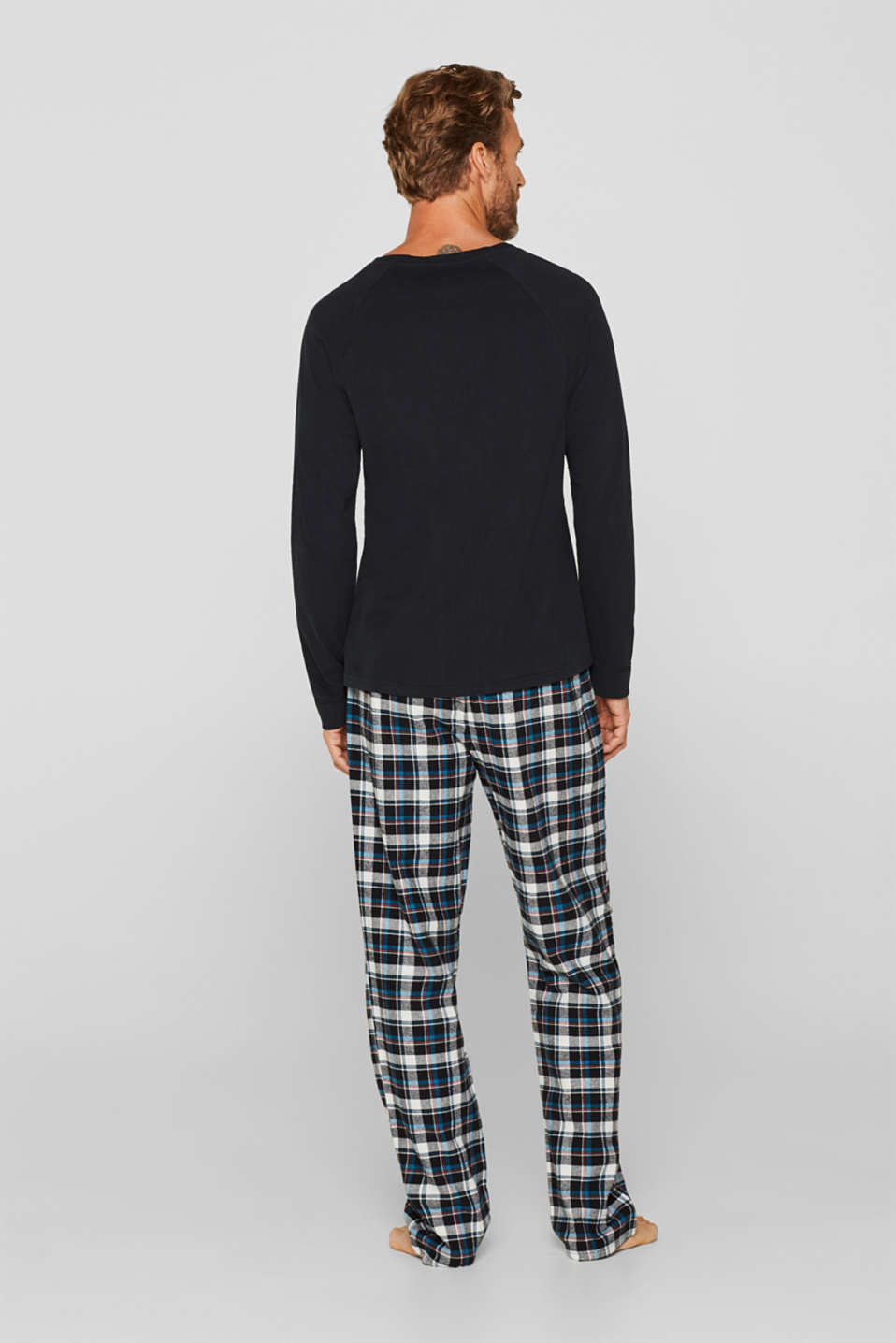 Jersey/flannel pyjamas, 100% cotton, BLACK, detail image number 1