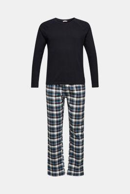 Jersey/flannel pyjamas, 100% cotton, BLACK, detail
