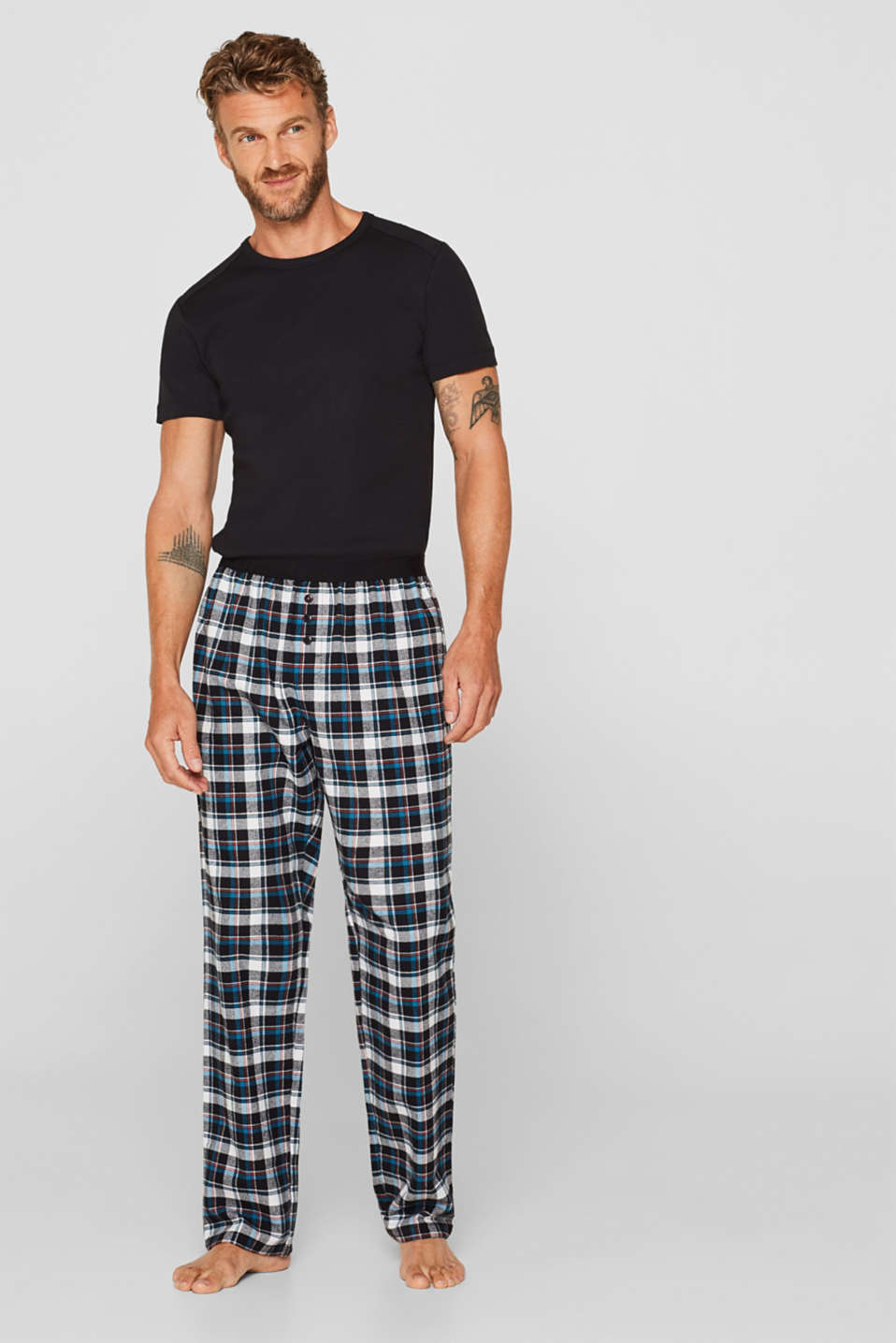 Flannel trousers with checks, 100% cotton