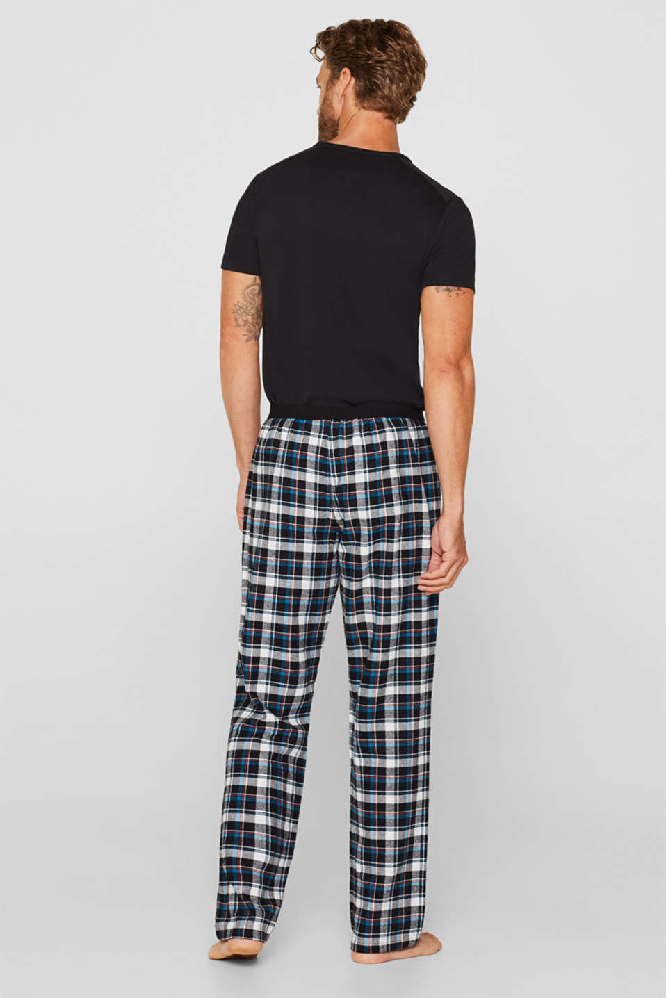 Flannel trousers with checks, 100% cotton, BLACK, detail image number 2