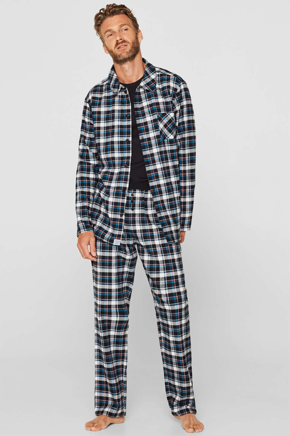 Flannel trousers with checks, 100% cotton, BLACK, detail image number 0