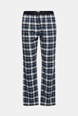 Flannel trousers with checks, 100% cotton, BLACK, detail