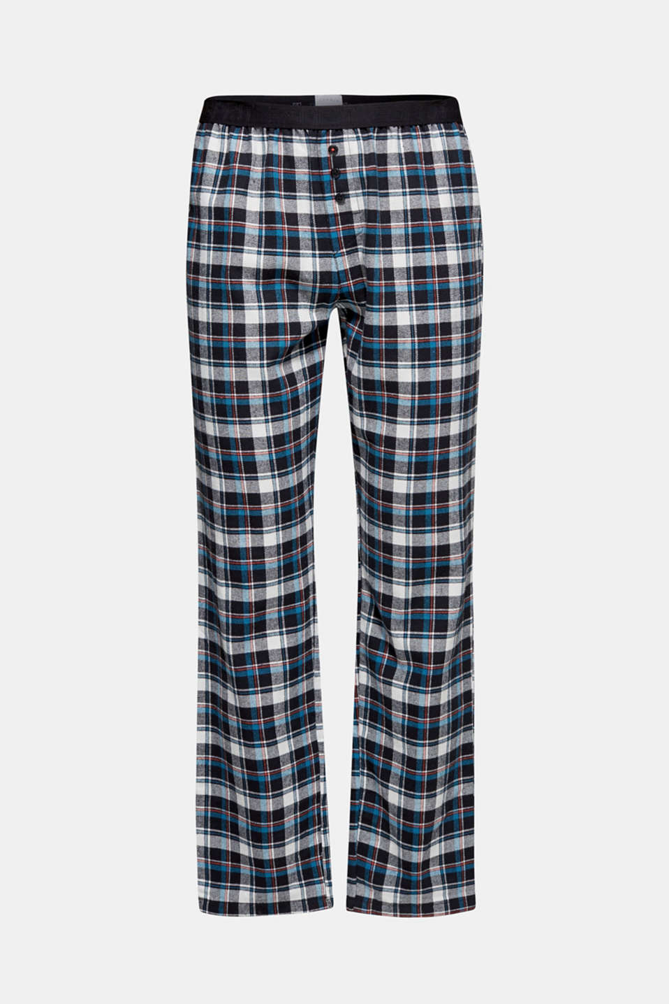 Flannel trousers with checks, 100% cotton, BLACK, detail image number 4