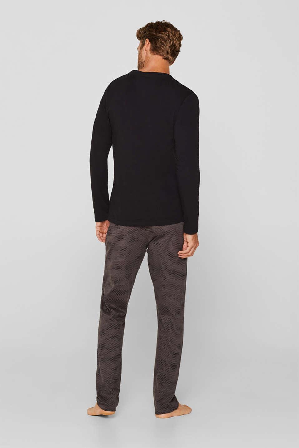 Printed jersey pyjamas, 100% cotton, BLACK, detail image number 1