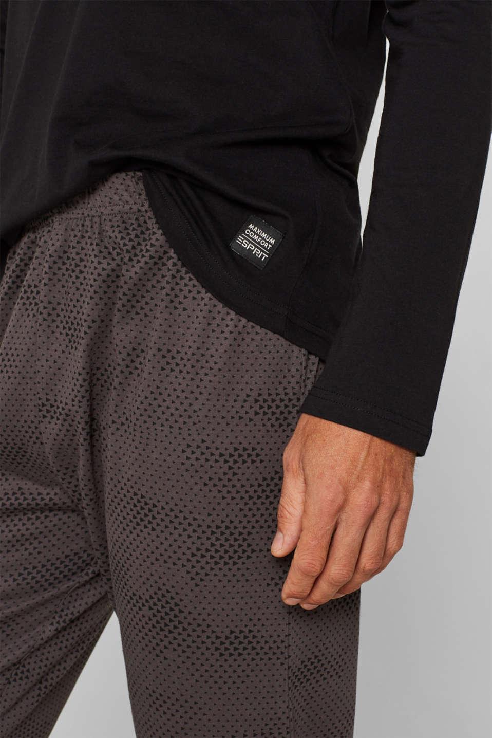 Printed jersey pyjamas, 100% cotton, BLACK, detail image number 2