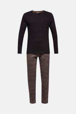 Printed jersey pyjamas, 100% cotton, BLACK, detail
