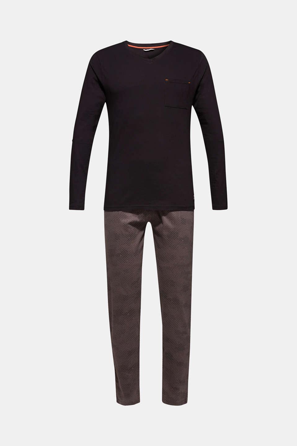Printed jersey pyjamas, 100% cotton, BLACK, detail image number 4