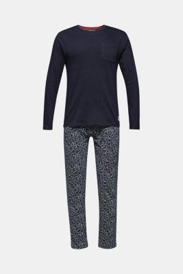 Printed jersey pyjamas, 100% cotton, NAVY, detail