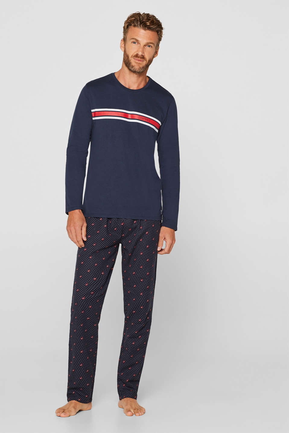 Print pyjamas made of jersey-flannel, NAVY, detail image number 0