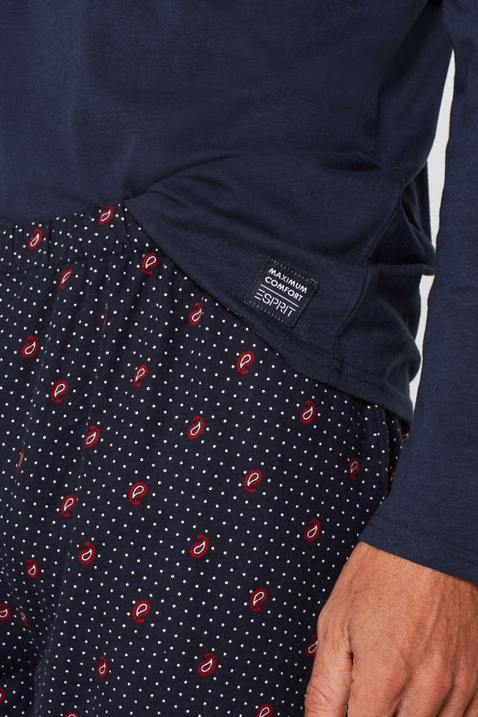 Print pyjamas made of jersey-flannel, NAVY, detail image number 2