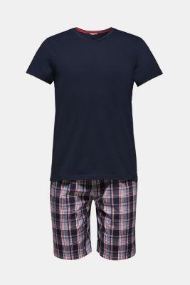 Jersey/fabric pyjamas, 100% cotton, NAVY, detail