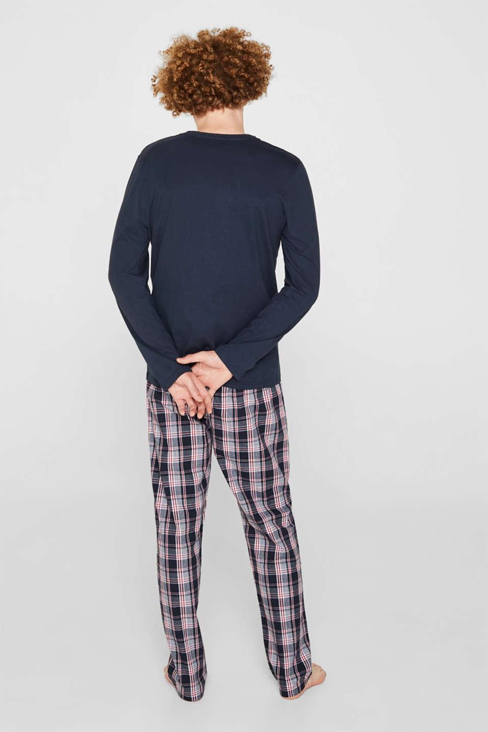 Material mix pyjamas, 100% cotton, NAVY, detail image number 2