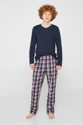 Material mix pyjamas, 100% cotton, NAVY, detail