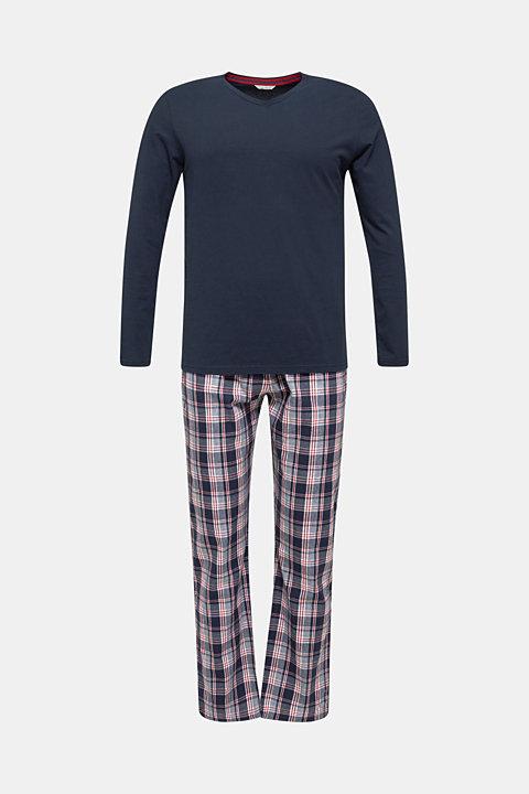 Material mix pyjamas, 100% cotton