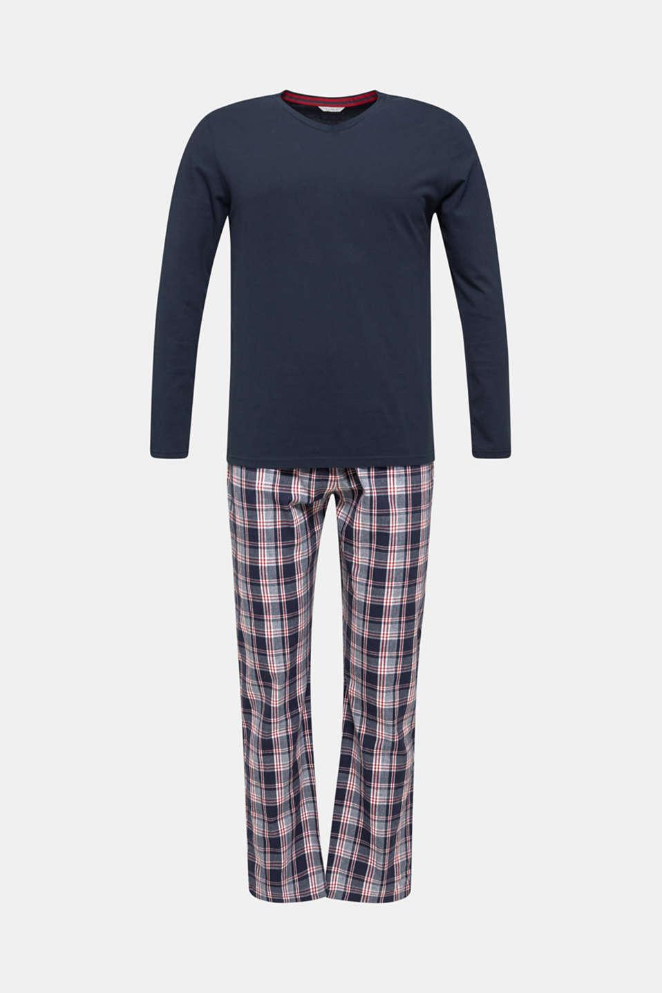 Material mix pyjamas, 100% cotton, NAVY, detail image number 4