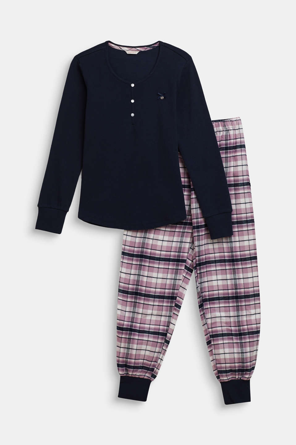 Esprit - Pyjama set with check flannel trousers
