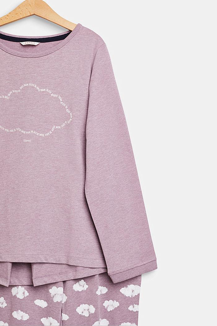Pilvipainettu pyjamasetti, MAUVE, detail image number 2