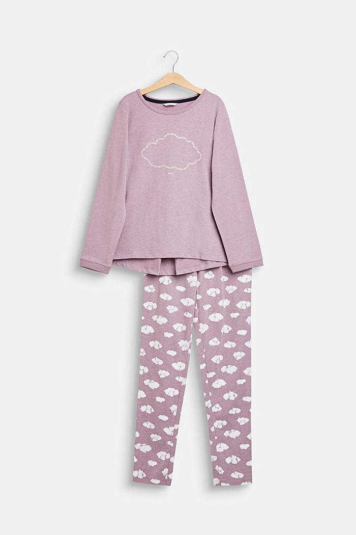 Pilvipainettu pyjamasetti, MAUVE, detail image number 0