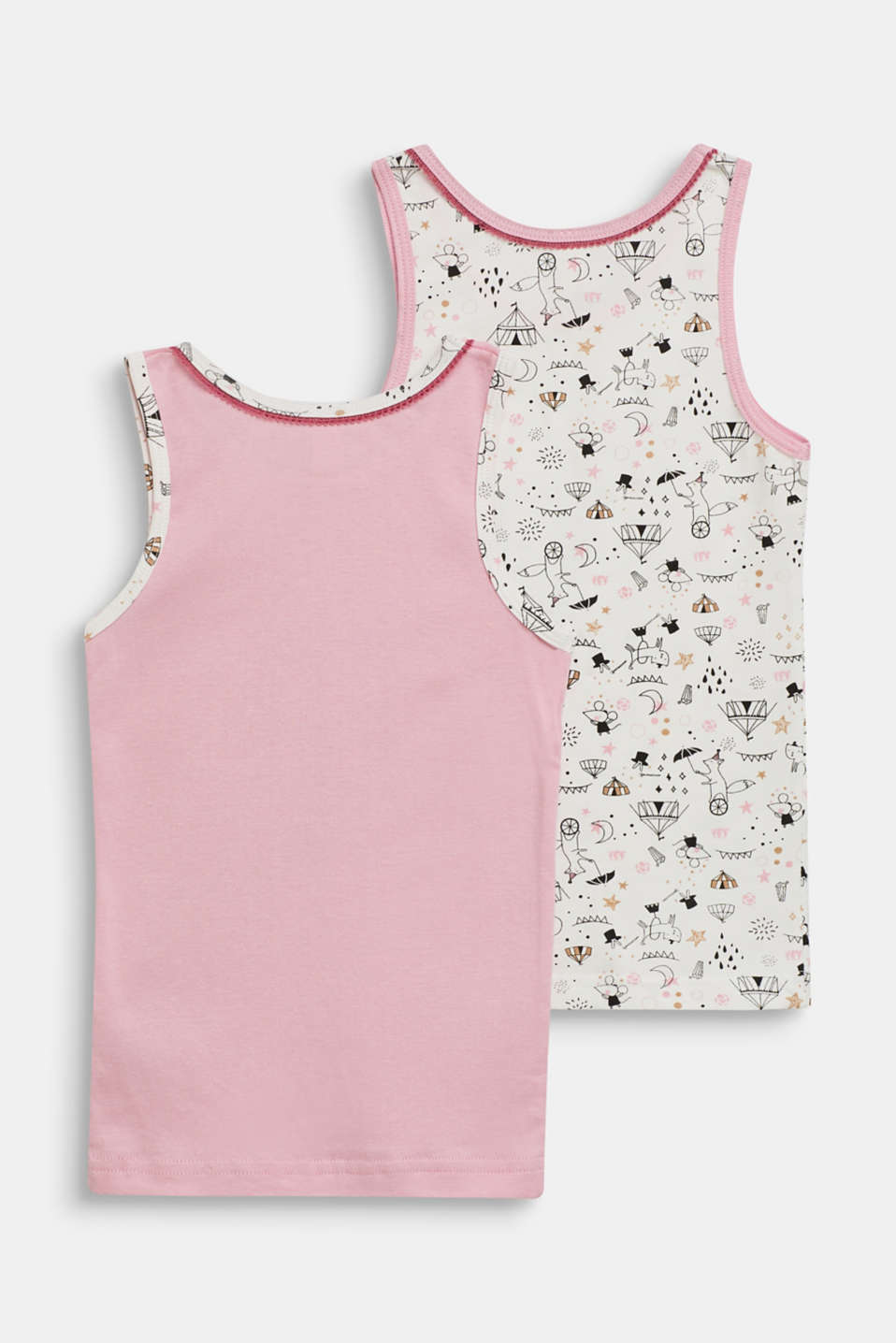 Wonderfully decorated cotton tops in a double pack, OFF WHITE, detail image number 1