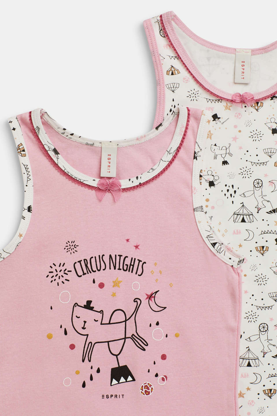 Wonderfully decorated cotton tops in a double pack, OFF WHITE, detail image number 2
