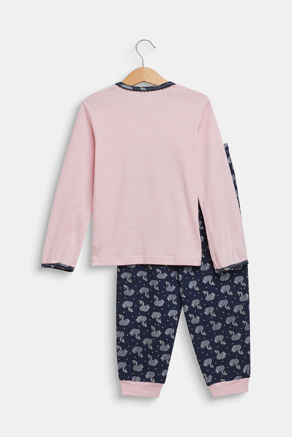 Pyjama set with a swan print, OLD PINK, detail image number 1