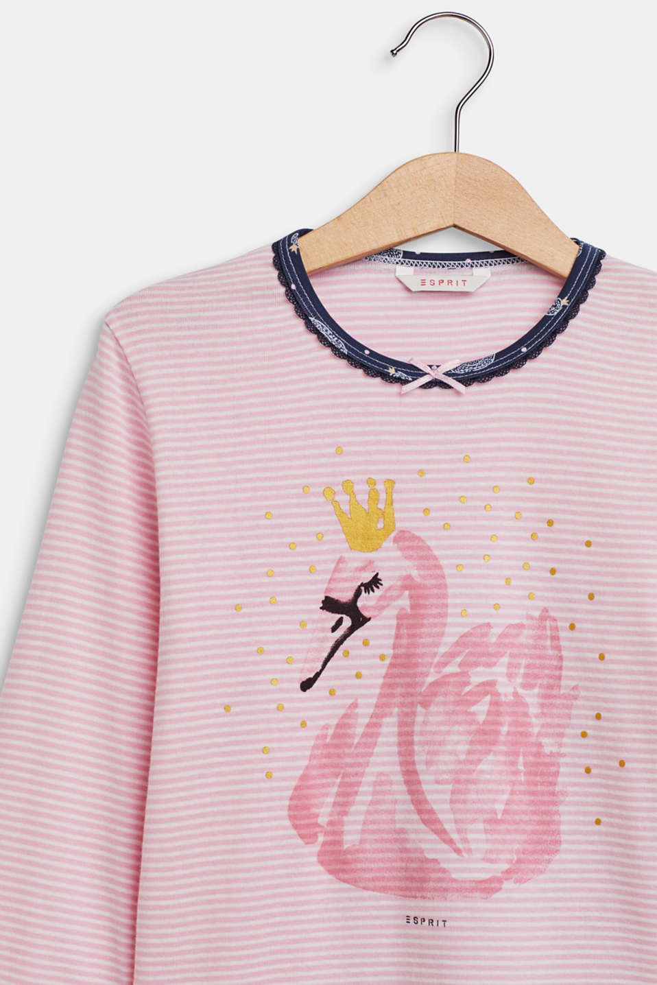 Pyjama set with a swan print, OLD PINK, detail image number 2