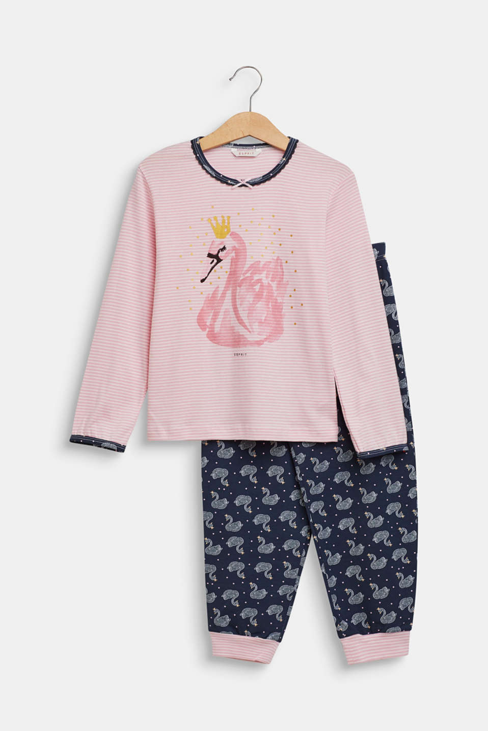 Pyjama set with a swan print, OLD PINK, detail image number 0