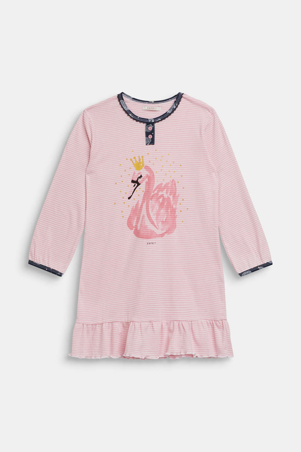 Nightshirt with a swan motif, made of 100% cotton, OLD PINK, detail image number 0