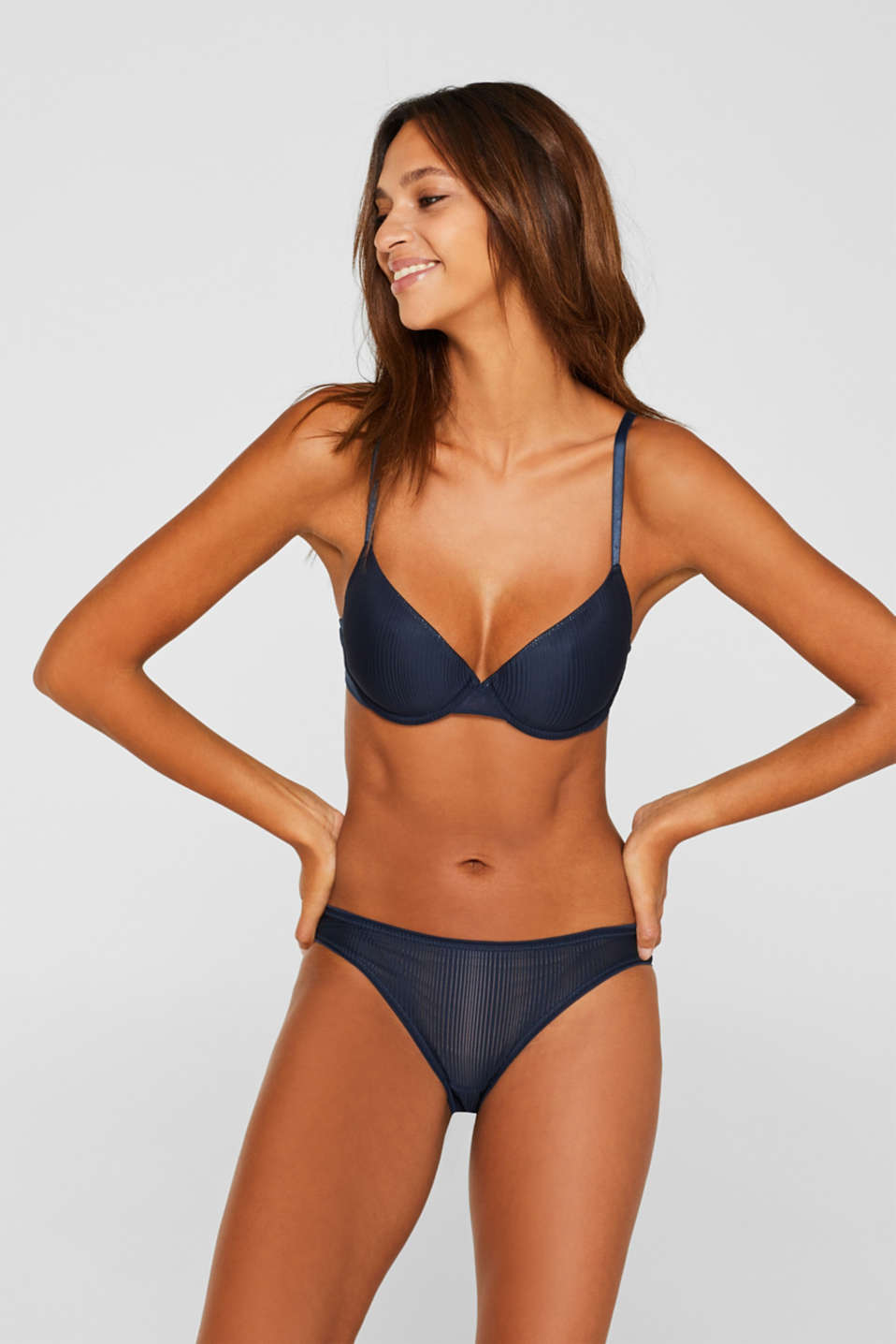 Padded underwire bra with stripes, NAVY, detail image number 0