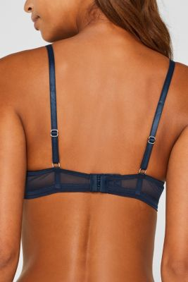 Padded underwire bra with stripes, NAVY, detail