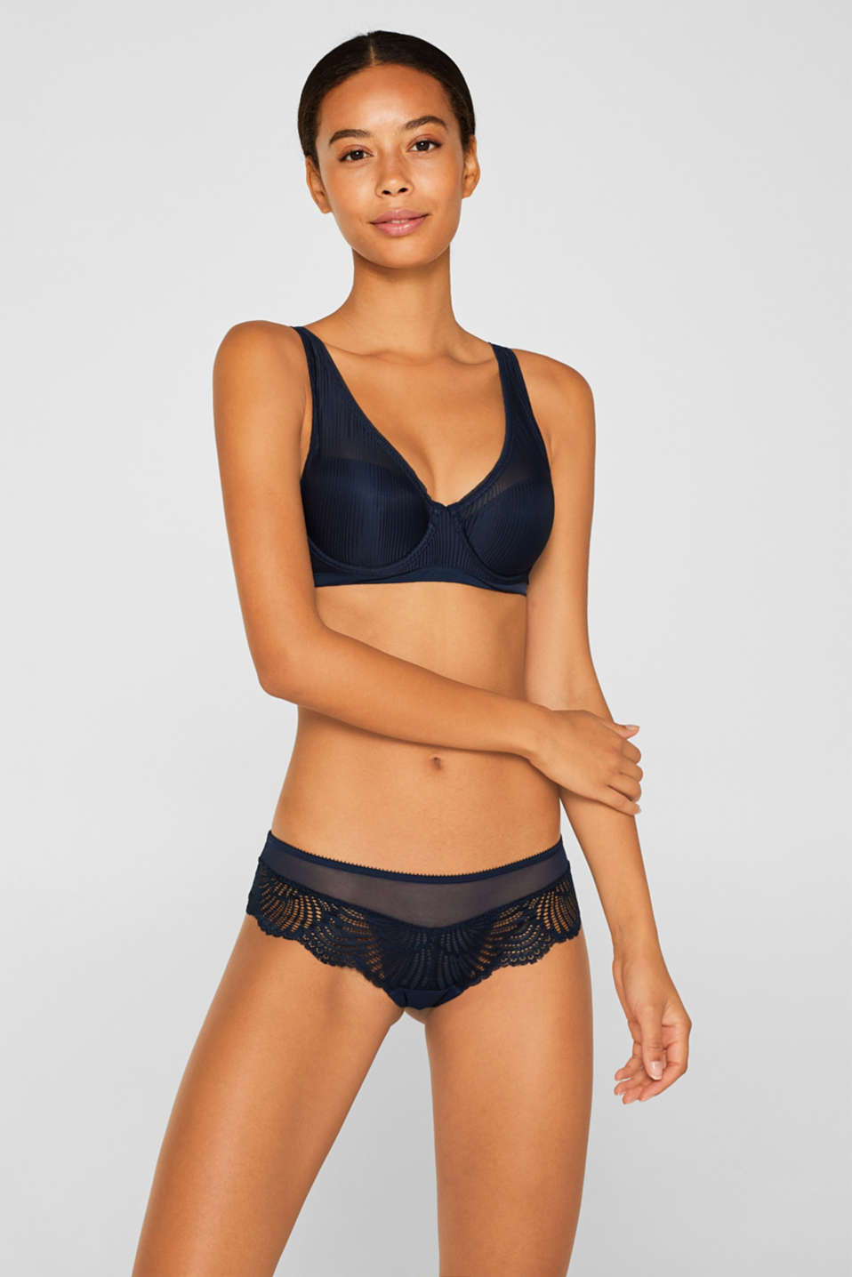 Half-padded underwire bra with stripes, NAVY, detail image number 0